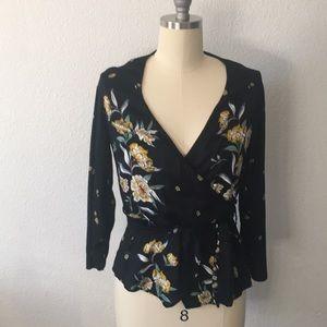 Zara sz L floral wrap blouse